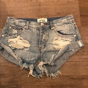 Distressed one teaspoon shorts